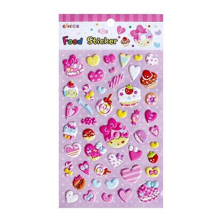 Adesivo Divertido Puffy - Eaki Food Sticker Doces e Corações Rosa