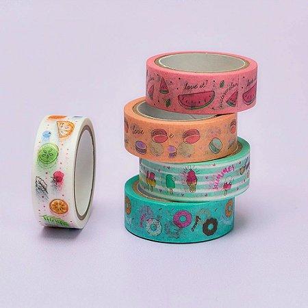 Kit de 5 Washi Tapes Food Trends Frutas