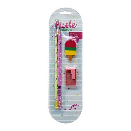 Kit 2 Lápis HB 1 Borracha 1 Apontador Tema Picolé Rosa
