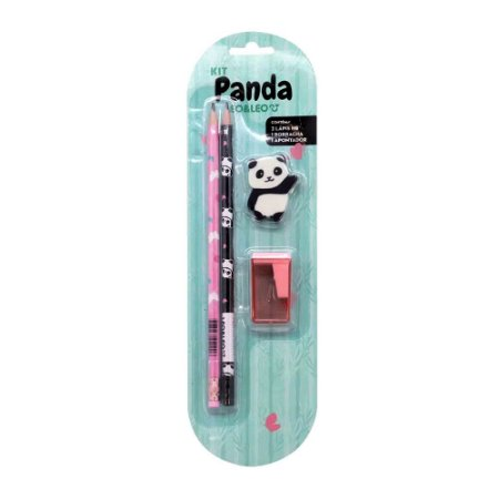Kit 2 Lápis HB 1 Borracha 1 Apontador Tema Panda Rosa