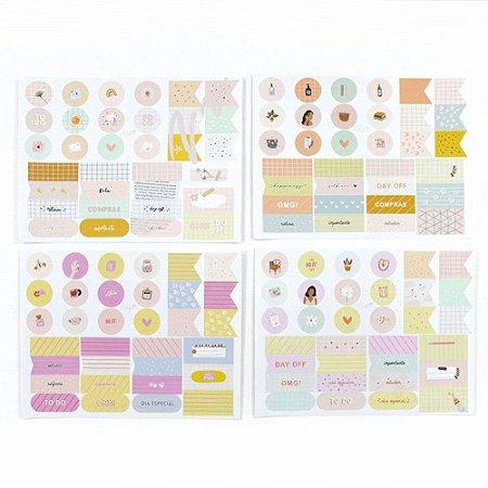Kit de 4 Cartelas de Adesivos - Coleção Girlie