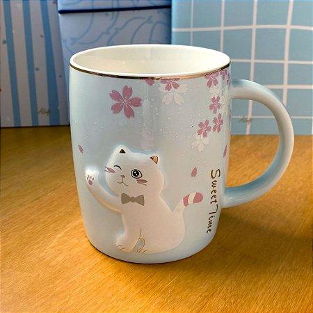 Caneca de Cerâmica Gato Sakura Azul