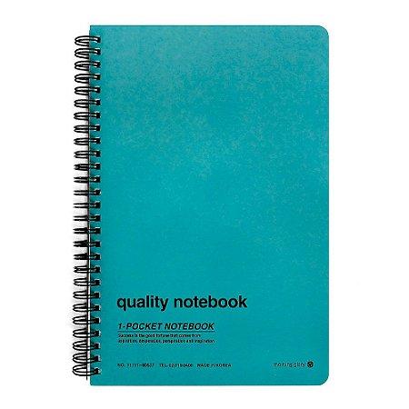 Caderno Espiral Capa Dura Pautado Com Bolso Quality Notebook Verde Água - Morning Glory