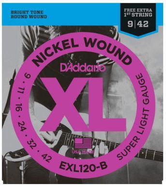 Encordoamento D'Addario Guitarra EXL120-B Nickel Wound - Super Light 009 - 042