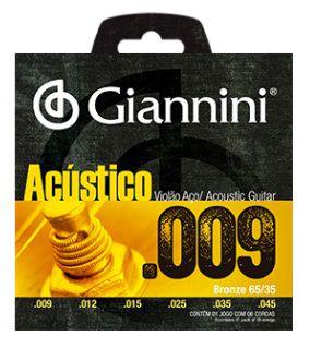 Encordoamento Giannini Violão Aço Acústico - Light 009 - 045