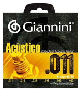 Encordoamento Giannini Violão Aço Acústico - Heavy 011 - 052