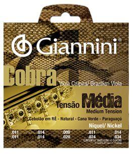 Encordoamento Giannini Cobra Viola Caipira Cebolão Re - Tensão Média