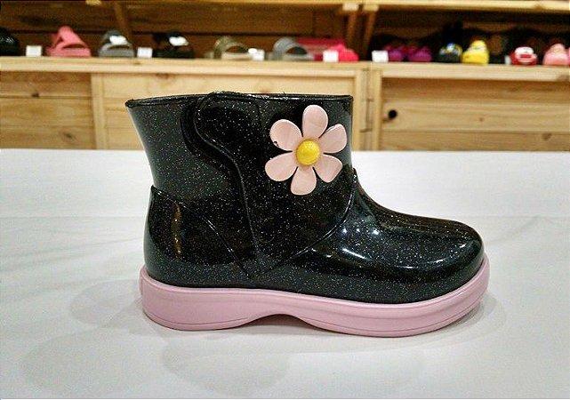 Bota Mia Baby Gliter preto/Rosa BB - World Colors