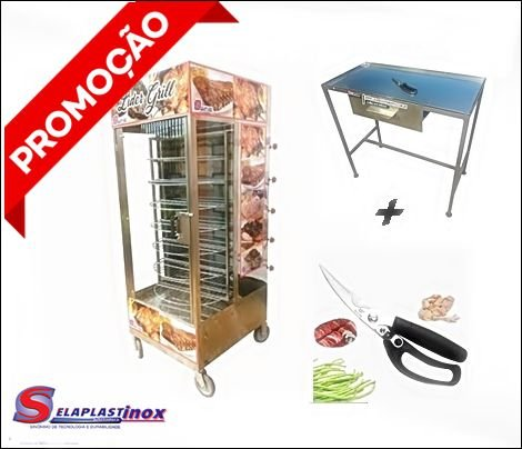 Maquina de Assar Frangos Giratória 100KG + Tesoura e Mesa
