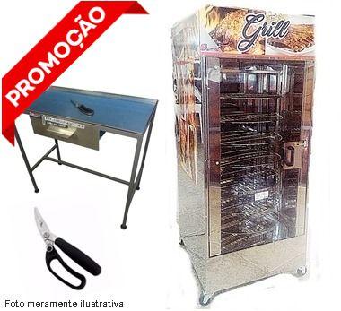 Máquina de Assar Frangos 120 kg + Tesoura e Mesa de corte de Frango