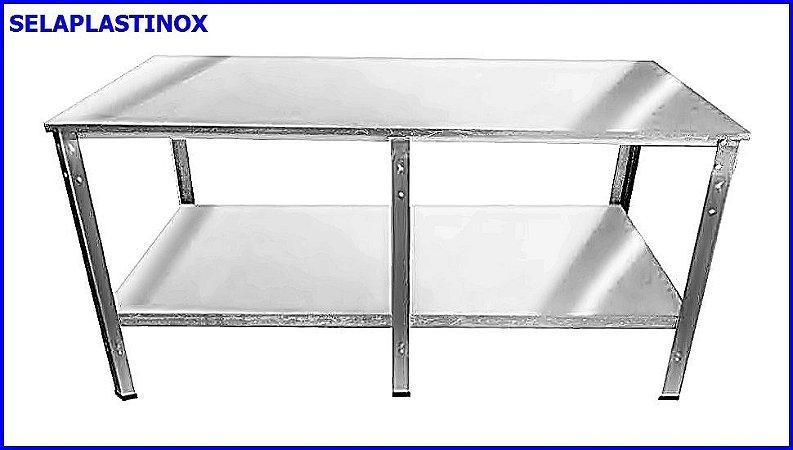MESA INOX COM PRATELEIRA LISA 190 x 070 x 080CM