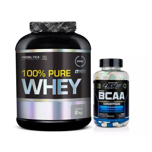 [COMBO] 100% Pure Whey (Probiótica / 2kg) + BCAA 1G (Nutrilatina AGE / 120 caps)