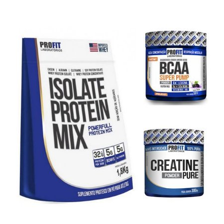 [COMBO] Isolate Protein Mix (1,8kg) + BCAA Super Pump (300g) + Creatina (300g)