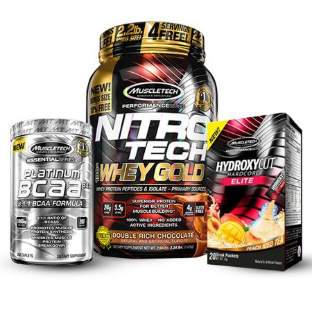 Kit Definição Muscletech - Nitro Tech Whey Gold 1KG + BCAA Platinum + Hydroxycut Hardcore Elite