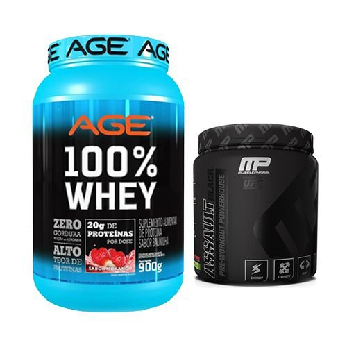 AGE 100% WHEY 907g + ASSAULT BLACK MUSCLEPHARM 300g