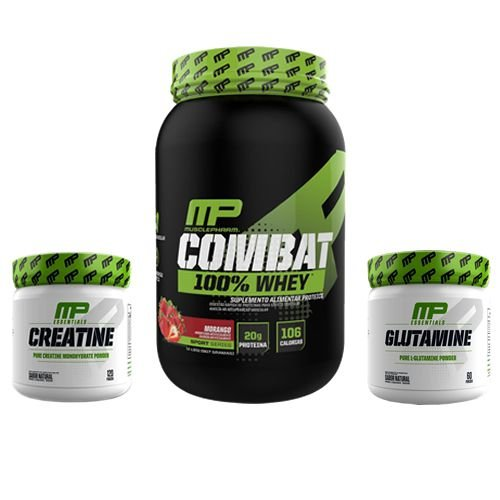 KIT MUSCLEPHARM C 300g + COMBAT 100% WHEY + GLUTAMINA 300g