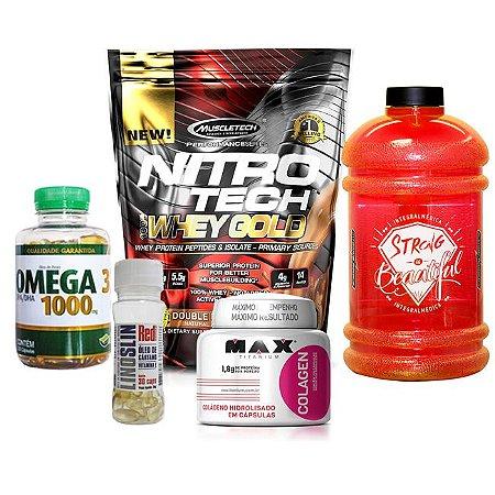 NITRO TECH WHEY GOLD + ÔMEGA 3 + LINO SLIM + COLAGEN + BRINDE