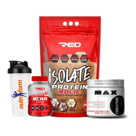 COMBO BCAA RED PRO CODE  + ISOLATE PROTEIN BOLIC 3Kg + CREATINA MAX TITANIUM 300g + COQUETELEIRA NUTRIFORM