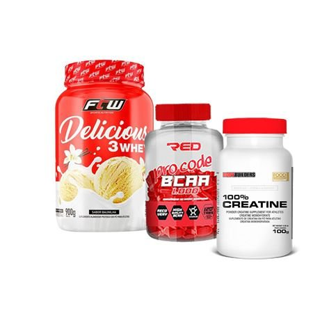 3 WHEY DELICIOUS - 900g  + 100% CREATINE + BCAA PRO