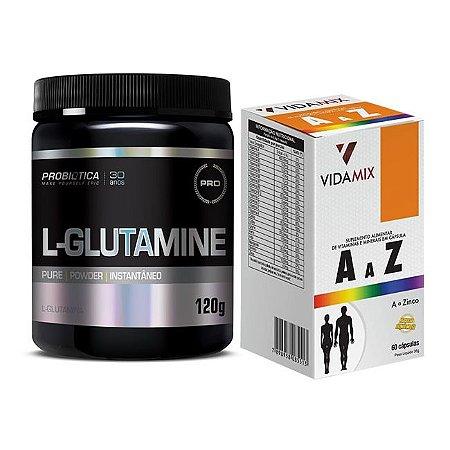 MULTIVITAMINICO 600mg A-Z 60cps - VIDAMIX + L-GLUTAMINA 120g PROBIÓTICA