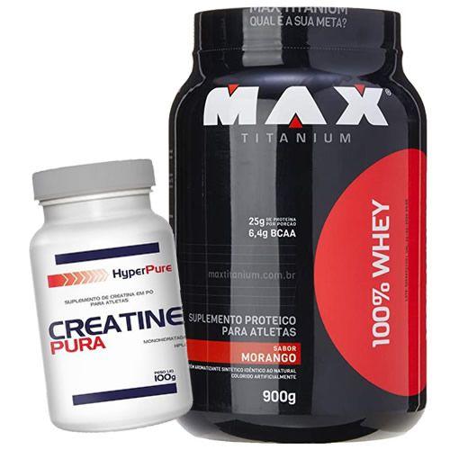 MAX TITANIUM 100% WHEY 900G + CREATINA PURE 100g HyperPure