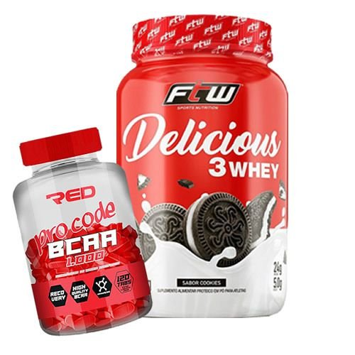 3 WHEY DELICIOUS - 900g  + BCAA PRO CODE 1000MG 120 CAPS RED SERIES