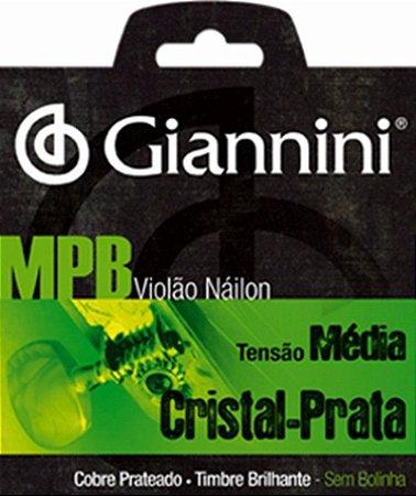 Encordoamento Para Violão Nylon Cristal Prata Tensão Media Giannini