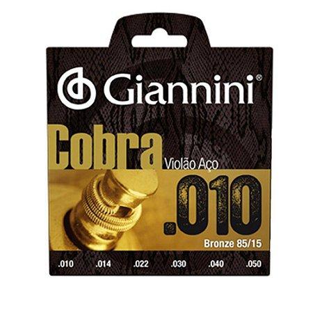 Encordoamento Para Violão Aço Cobra 010 Giannini Oferta