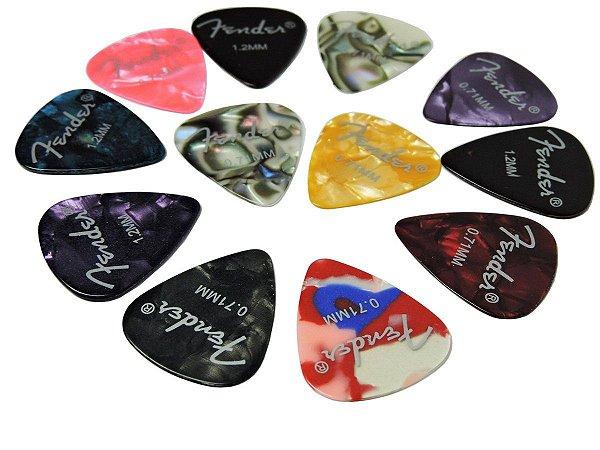 Kit Palhetas Fender Com 100 Peças (Medium,Thin E Heavy)