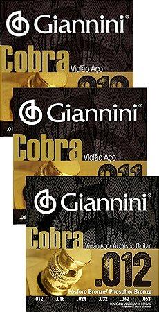 Encordoamento Violão Aço Giannini Cobra Fósforo Bronze 010/  011/ 012