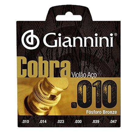 Encordoamento Para Violão Aço Cobra Giannini Fósforo Bronze 010 - 011 - 012
