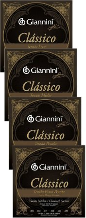 Encordoamento Cordas Para Violão Nylon Giannini Classico Tensão Leve-Média-Pesada-Extra Pesada