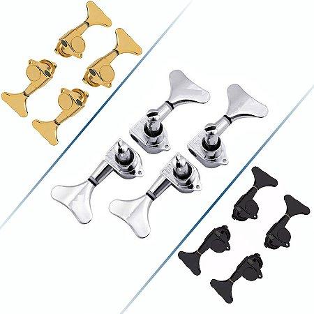 Tarrachas Tarraxas Blindada Para Contra Baixo 4 Cordas 2x2 Dourada-Cromada-Preta