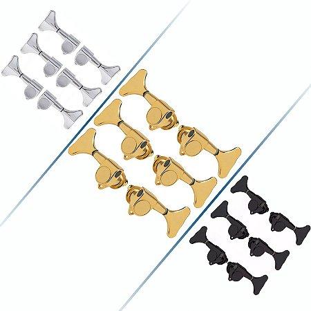 Tarrachas Tarraxas Blindada Para Contra Baixo 6 Cordas 3x3 Cromada-Dourada-Preta