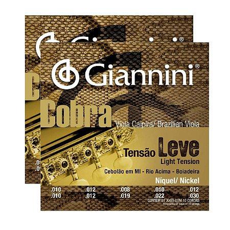 Kit Com 02 Jogos De Cordas Para Viola Caipira Tensão Leve Niquel Cobra Giannini
