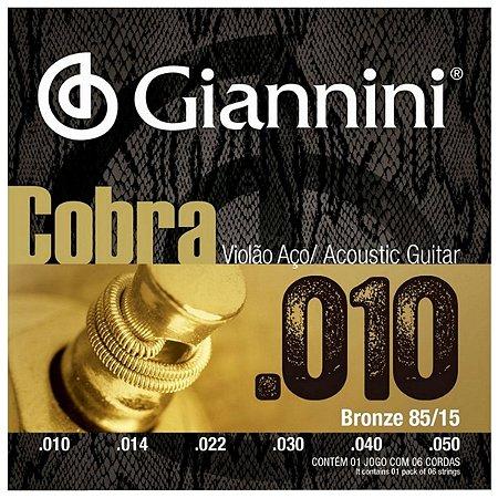 Cordas Para Violão Aço Giannini Cobra 010