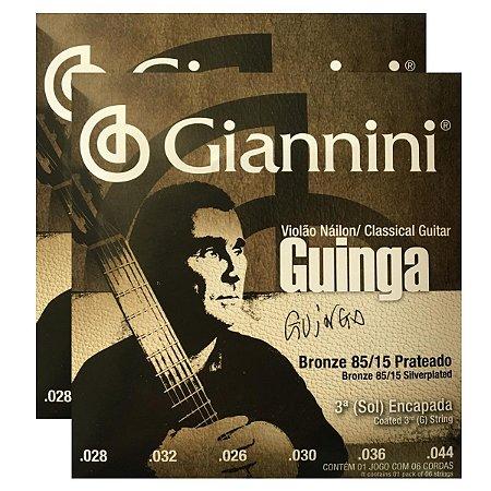 Kit Com 02 Jogos De Cordas Para Violão Nylon Guinga Giannini