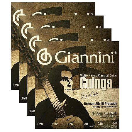 Kit Com 04 Jogos De Cordas Para Violão Nylon Guinga Giannini
