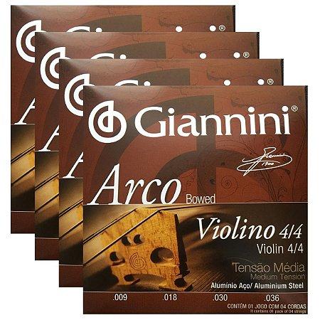 Kit Com 04 Jogos De Cordas Para Violino Tensão Média Arco Giannini