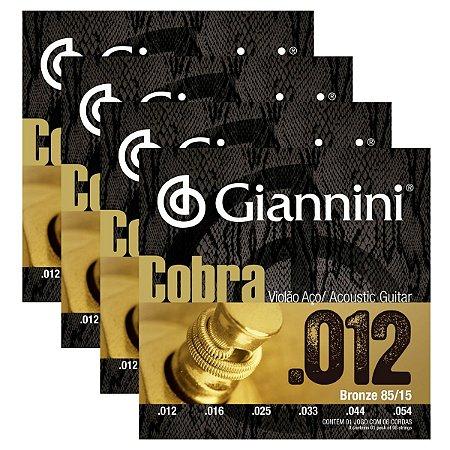 Kit Com 04 Jogos De Cordas Para Violão Aço 012 Cobra  Giannini