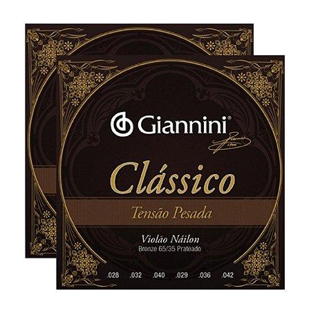 Kit Com 02 Jogos De Cordas Para Violão Nylon Tensão Pesada Clássico Giannini