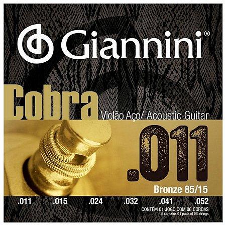 Cordas Para Violão Aço Giannini Cobra 011