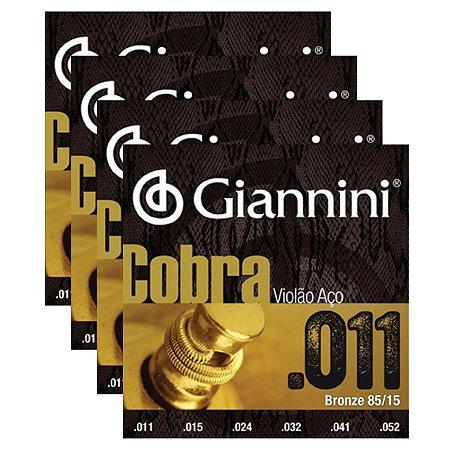 Kit Com 04 Jogos De Cordas Para Violão Aço 011 Cobra Giannini