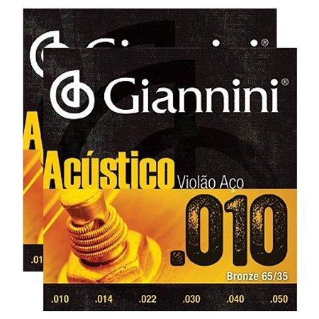 Kit Com 02 Jogos De Cordas Para Violão Aço 010 Acústico Giannini