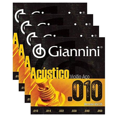 Kit Com 04 Jogos De Cordas Para Violão Aço 010 Acústico Giannini