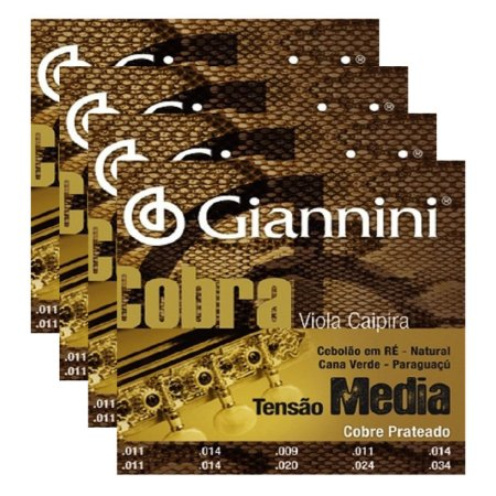 Kit Com 04 Jogos De Cordas Para Viola Caipira Tensão Média Cobre Prateado Cobra Giannini
