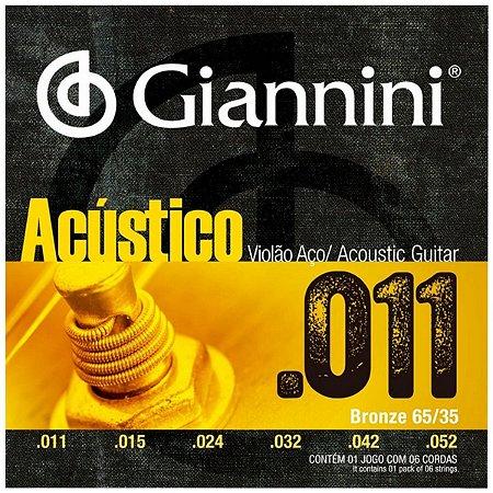 Cordas Para Violão Aço Giannini Acústico 011