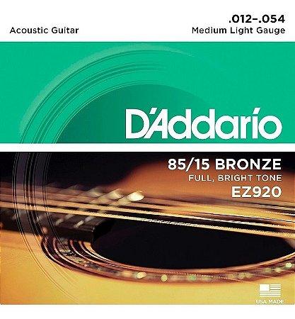 Encordoamento Cordas Para Violão Aço 012 EZ920 Daddario
