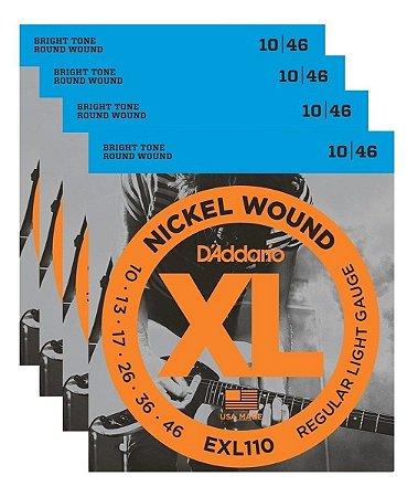 Kit Com 04 Jogos De Cordas Para Guitarra 010 EXL110 Daddario