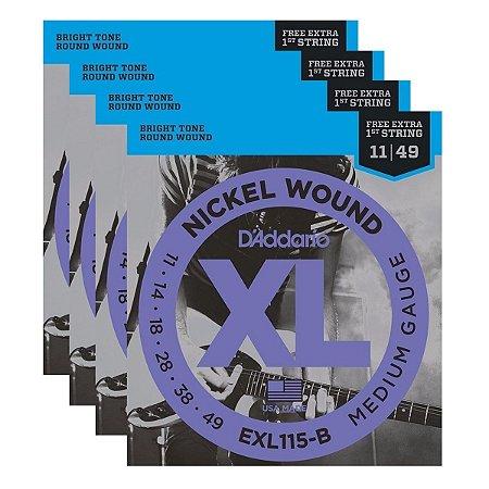 Kit Com 04 Jogos De Cordas Para Guitarra 011 EXL115-B Daddario